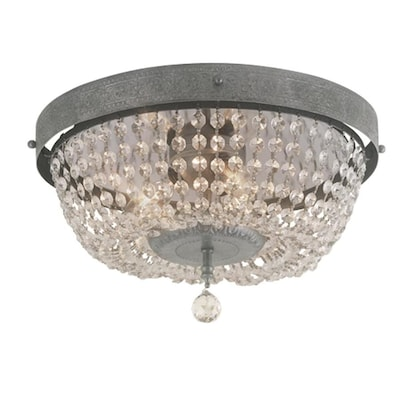 Breely 14 02 In Antique Silver Transitional Incandescent Flush Mount Light