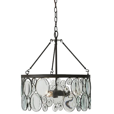 Grelyn Aged Bronze Transitional Clear Glass Drum Pendant Light