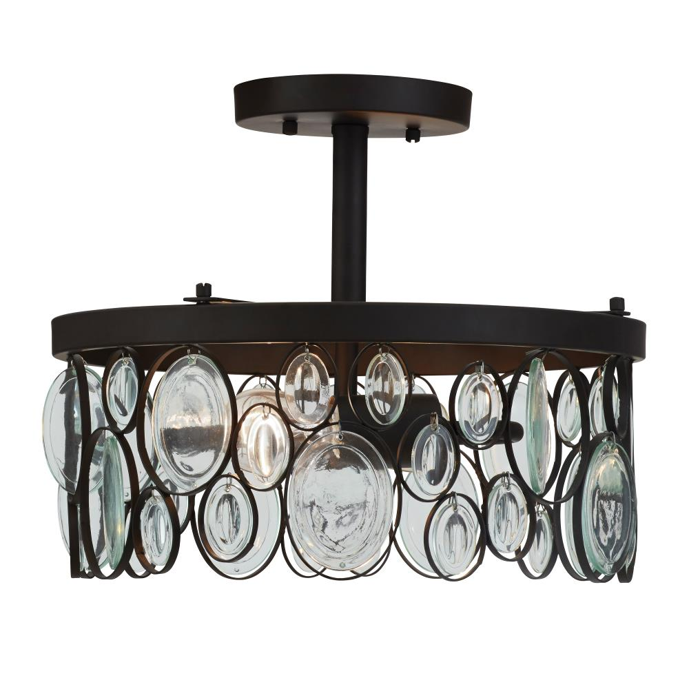 allen + roth Grelyn 12.68-in W Aged Bronze Clear Glass Semi-Flush Mount Light