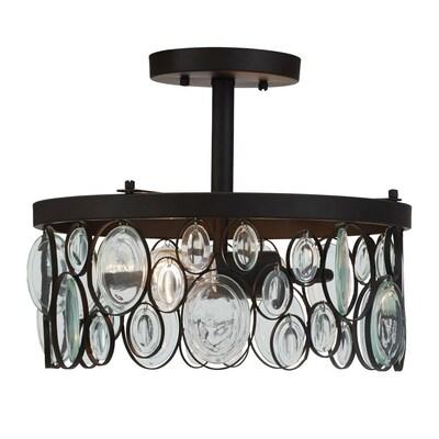 huge discount ec57f 32c10 Grelyn 12.63-in W Aged Bronze Clear Glass Semi-Flush Mount Light