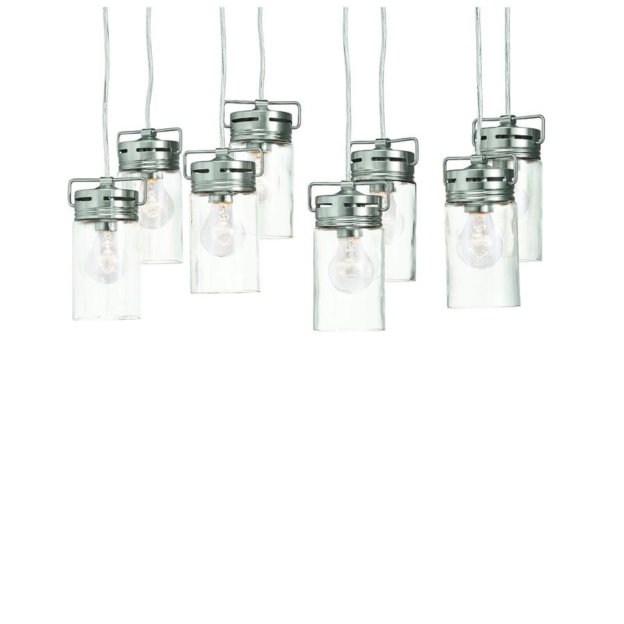 allen + roth Vallymede 25.47-in Brushed Nickel Barn Multi-Light Clear Glass Jar Pendant