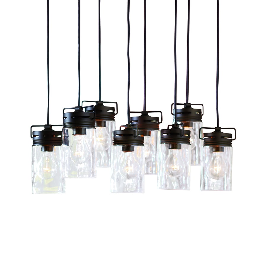 Shop allen + roth Vallymede 25.47-in Aged Bronze Barn Multi-Light Clear Glass Jar Pendant at ...