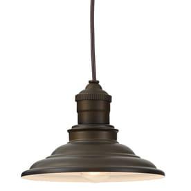 allen + roth Hainsbrook 7.99-in Aged Bronze Rustic Mini Cone Pendant