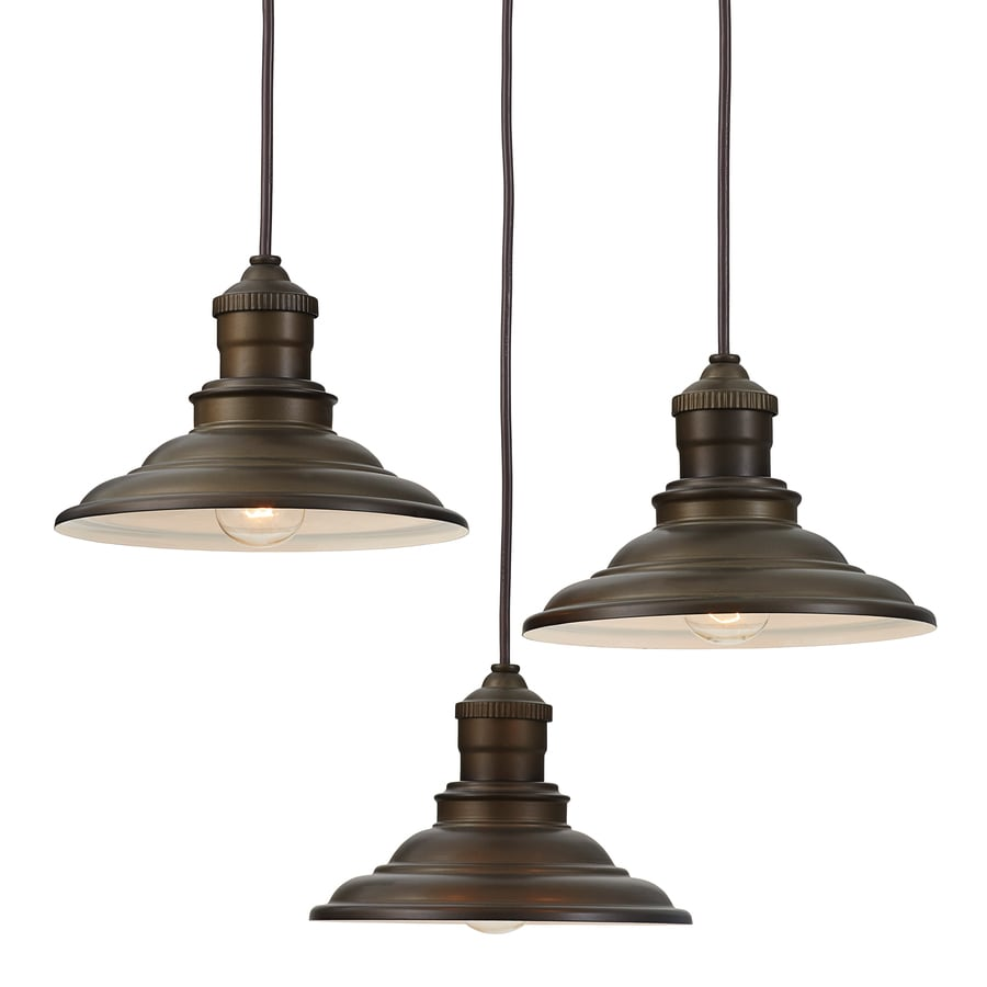 Allen Roth Hainsbrook 183 In Aged Bronze Rustic Multi Light Cone Pendant
