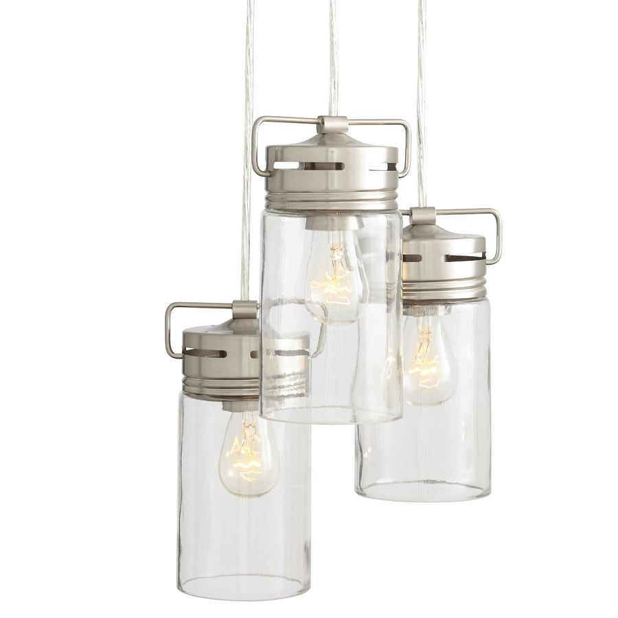 allen + roth Vallymede 9.84-in Brushed Nickel Barn Multi-Light Clear Glass Jar Pendant