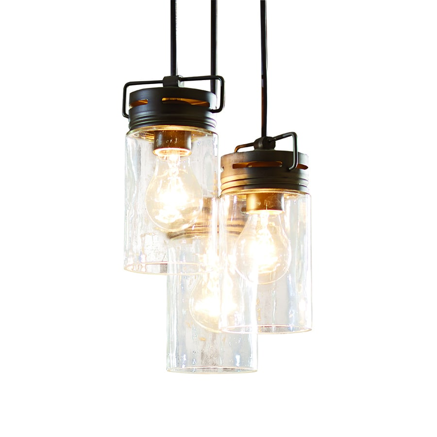 allen + roth Vallymede 9.84-in Aged Bronze Barn Multi-Light Clear Glass Jar Pendant