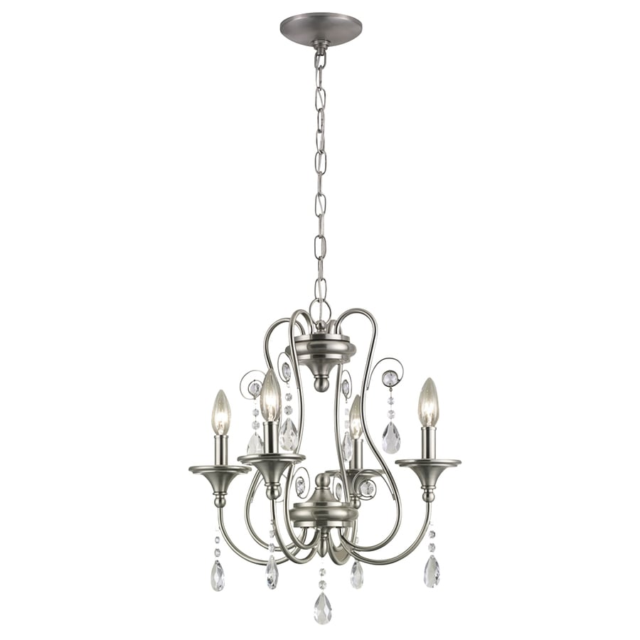 Shop portfolio opula 17 in 4 light brushed nickel crystal Crystal candle chandelier