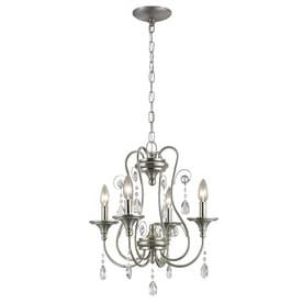 portfolio opula 17in 4light brushed nickel crystal candle chandelier