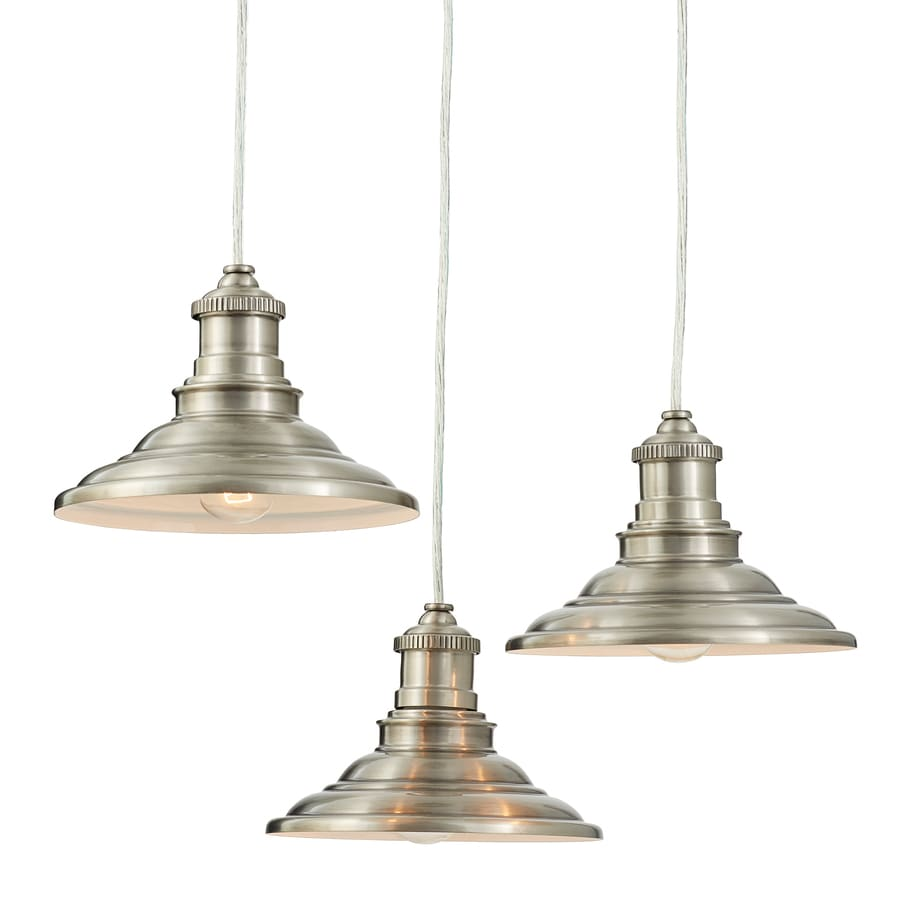 allen + roth Hainsbrook 18.3-in Antique Pewter Rustic Multi-Light Cone Pendant