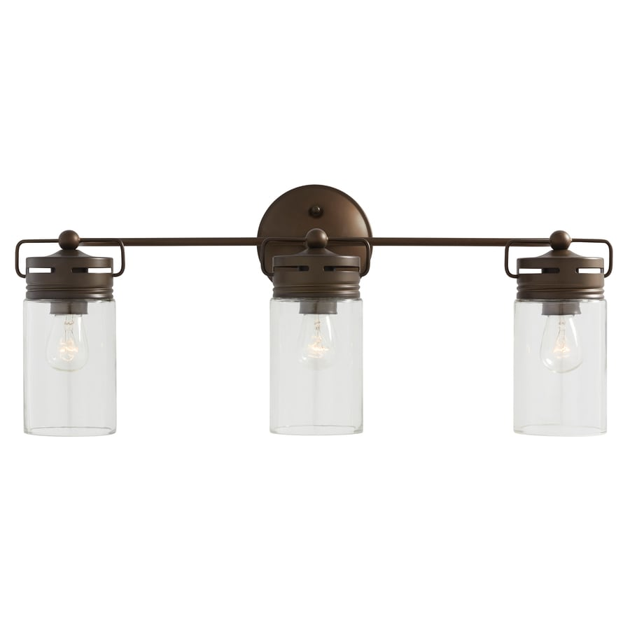 Shop allen roth vallymede 3 light 10 2 in aged bronze for Bathroom vanity lights