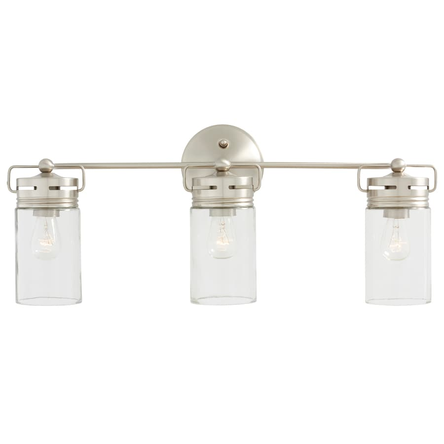 Vanity Lights White : Shop allen + roth Vallymede 3-Light 10.2-in Brushed Nickel Cylinder Vanity Light at Lowes.com