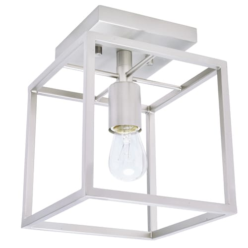 Style Selections Arctura 7 In Brushed Nickel Modern Contemporary Incandescent Semi Flush Mount Light In The Flush Mount Lighting Department At Lowes Com