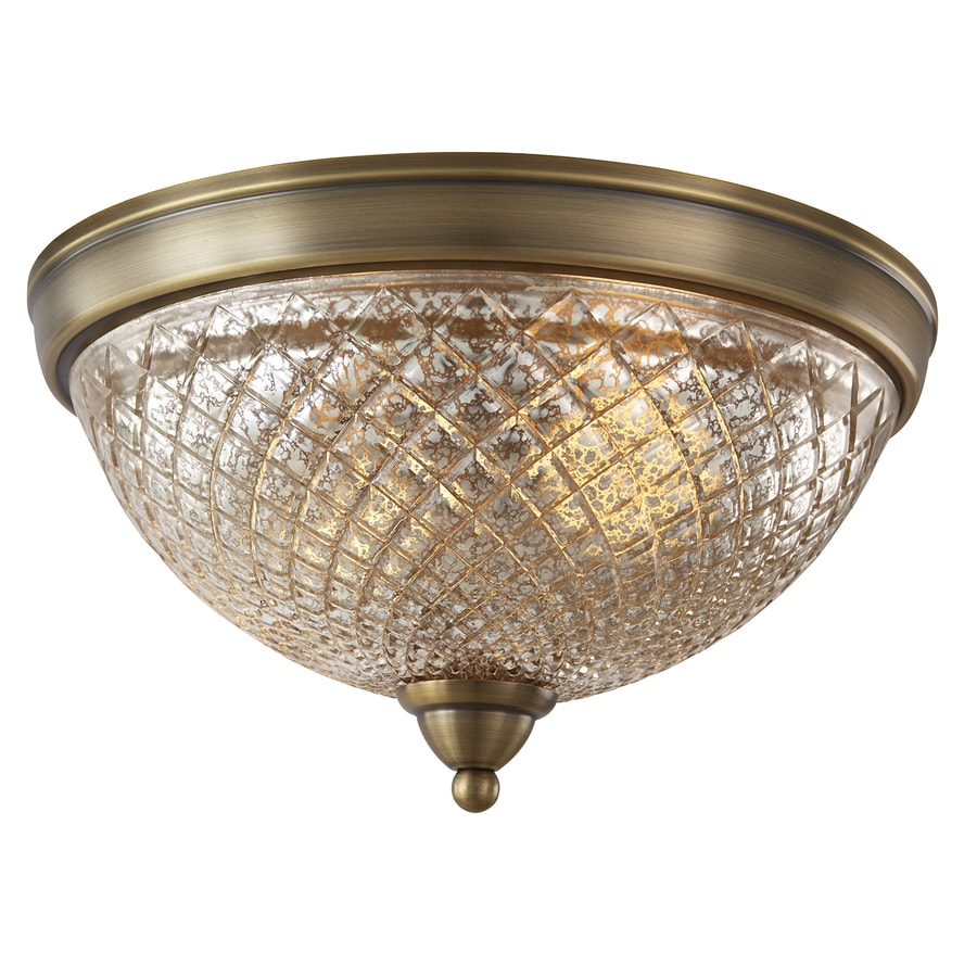 allen + roth Lynlore 12.99-in W Old Brass Flush Mount Light