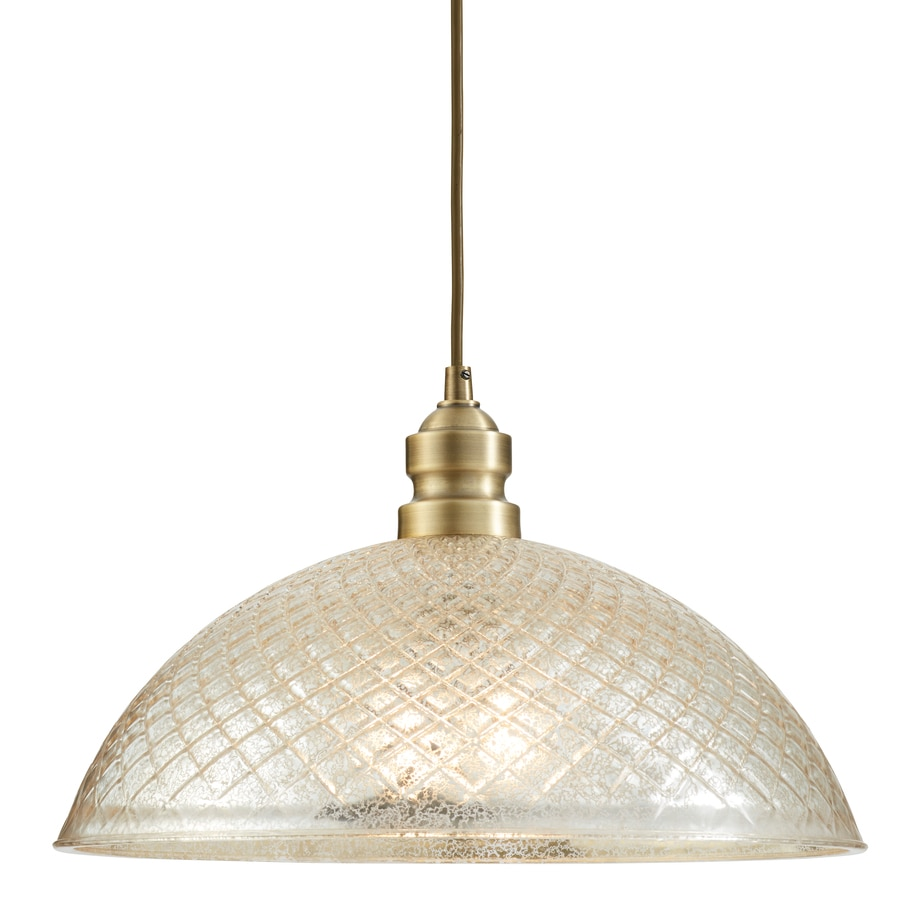 allen + roth Lynlore 15.98-in Old brass Vintage Hardwired Single Mercury Glass Dome Standard Pendant