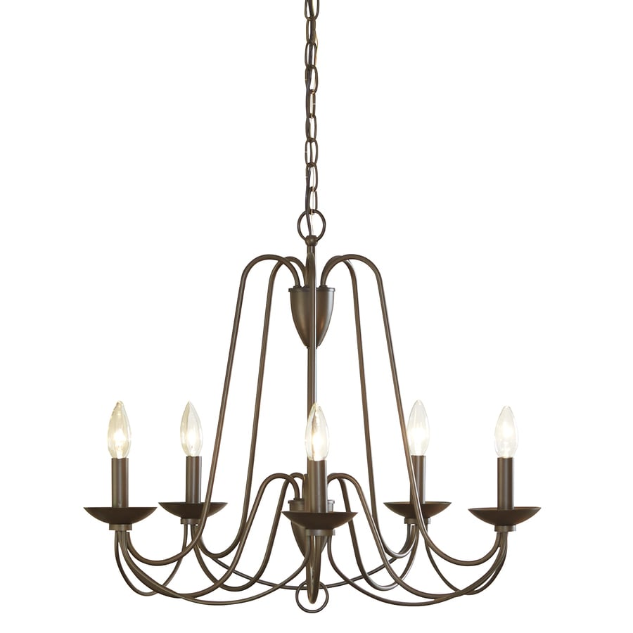 allen + roth Wintonburg 24.25-in 5-Light Aged Bronze Williamsburg Candle Chandelier