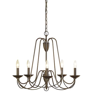 Wintonburg 5 Light Aged Bronze French Country Cottage Candle Chandelier