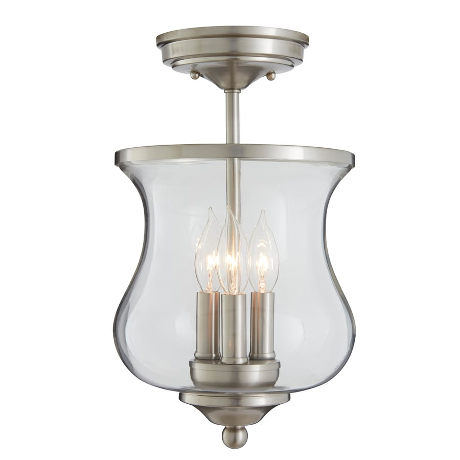 allen roth yately 866in w brushed nickel clear glass semiflush mount - Semi Flush Mount Lighting