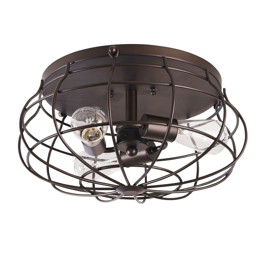 allen + roth Yordan 15-in W Aged Bronze Flush Mount Light