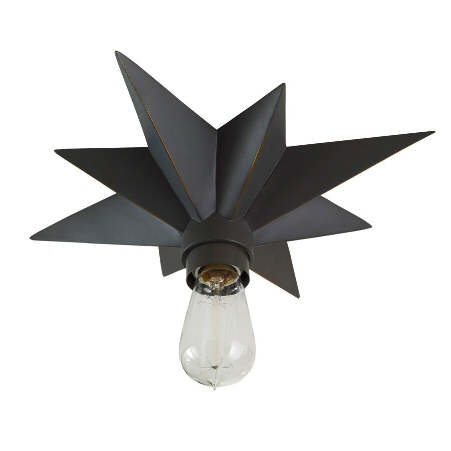 Portfolio 13.98-in W Aged bronze Flush Mount Light