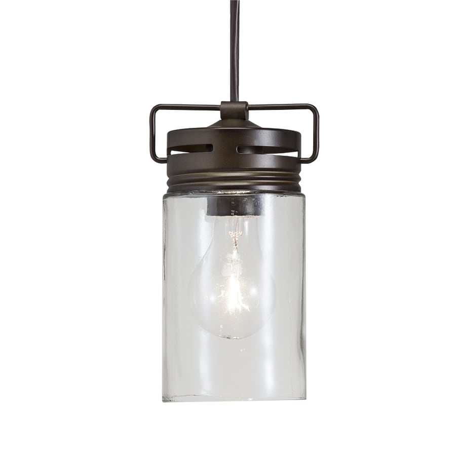 Shop allen + roth Vallymede 4.41-in Aged Bronze Barn Mini Clear Glass Jar Pendant at Lowes.com