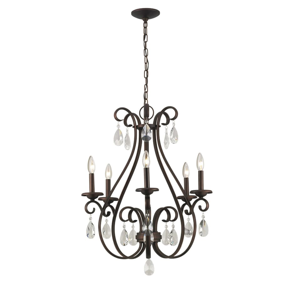 Portfolio Marimay 24 45 In 5 Light Dark Bronze Vintage Crystal Candle Chandelier
