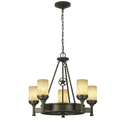 Thoroughbred 5 Light Aged Bronze Rustic Textured Gl Candle Chandelier