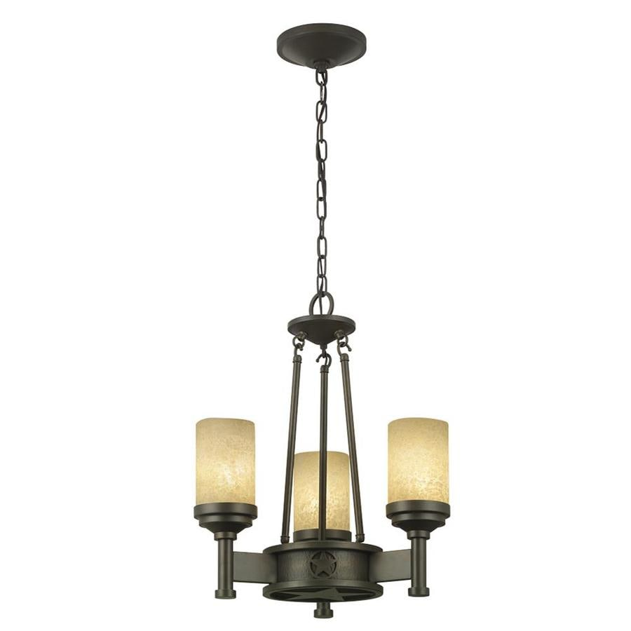Portfolio Thoroughbred 18.5-in 3-Light Aged Bronze Rustic Textured Glass Candle Chandelier