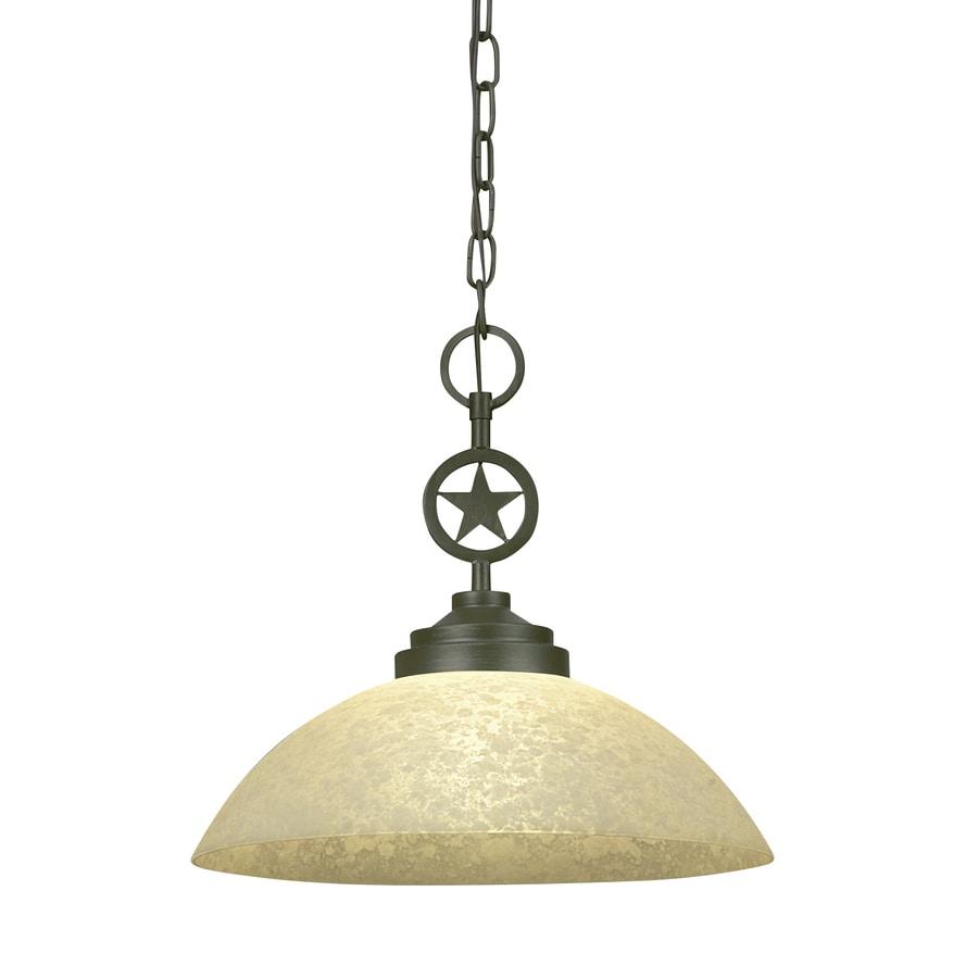 Portfolio Thoroughbred 15-in Aged Bronze Barn Single Textured Glass Bowl Pendant