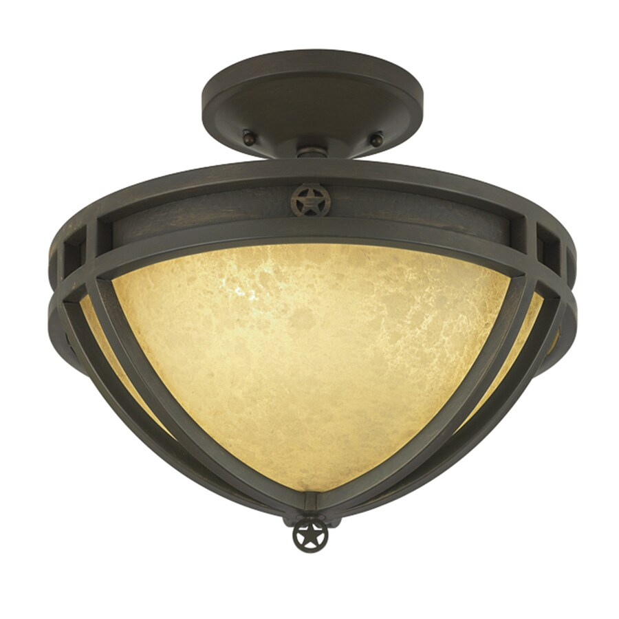 Portfolio Thoroughbred 14-in W Aged Bronze Frosted Glass Semi-Flush Mount Light