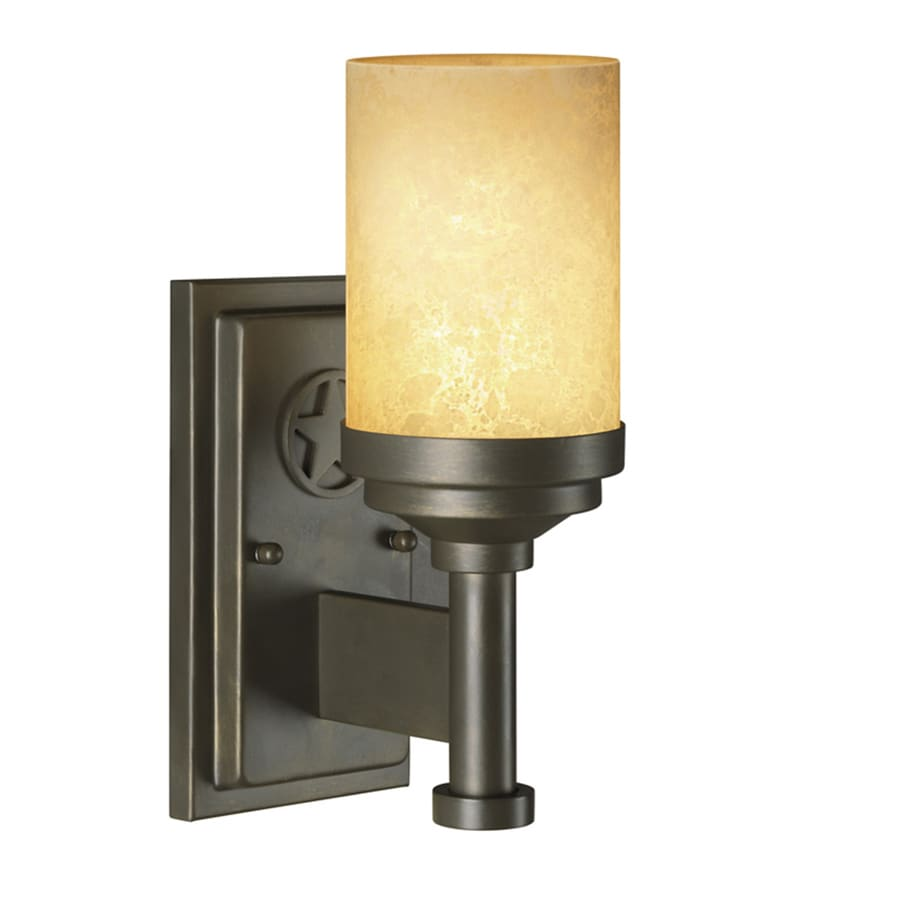 Portfolio Thoroughbred 1-Light 11.41-in Aged Bronze Cylinder Vanity Light