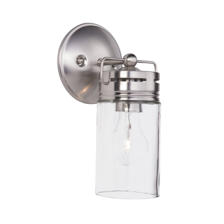 allen + roth Vallymede 1-Light 10.2-in Brushed Nickel Cylinder Vanity Light