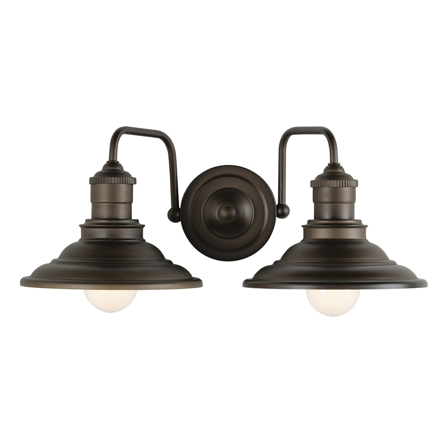 Shop allen roth hainsbrook 2 light 7 in aged bronze cone for Bathroom vanity lights