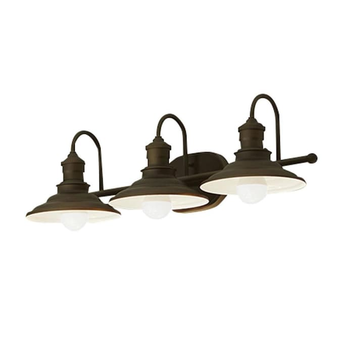Allen Roth Hainsbrook 3 Light 25 98 In Aged Bronze Cone Vanity Light In The Vanity Lights Department At Lowes Com