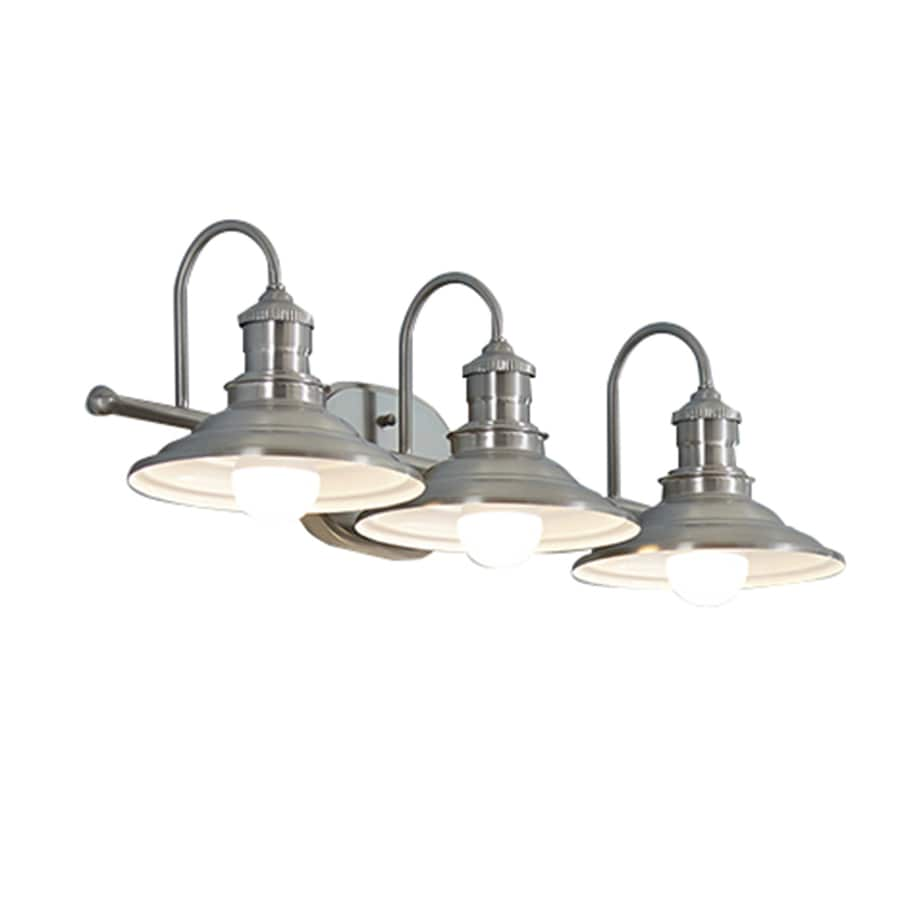 Bathroom Vanity Lights Pictures shop allen + roth hainsbrook 3-light 7.48-in antique pewter cone