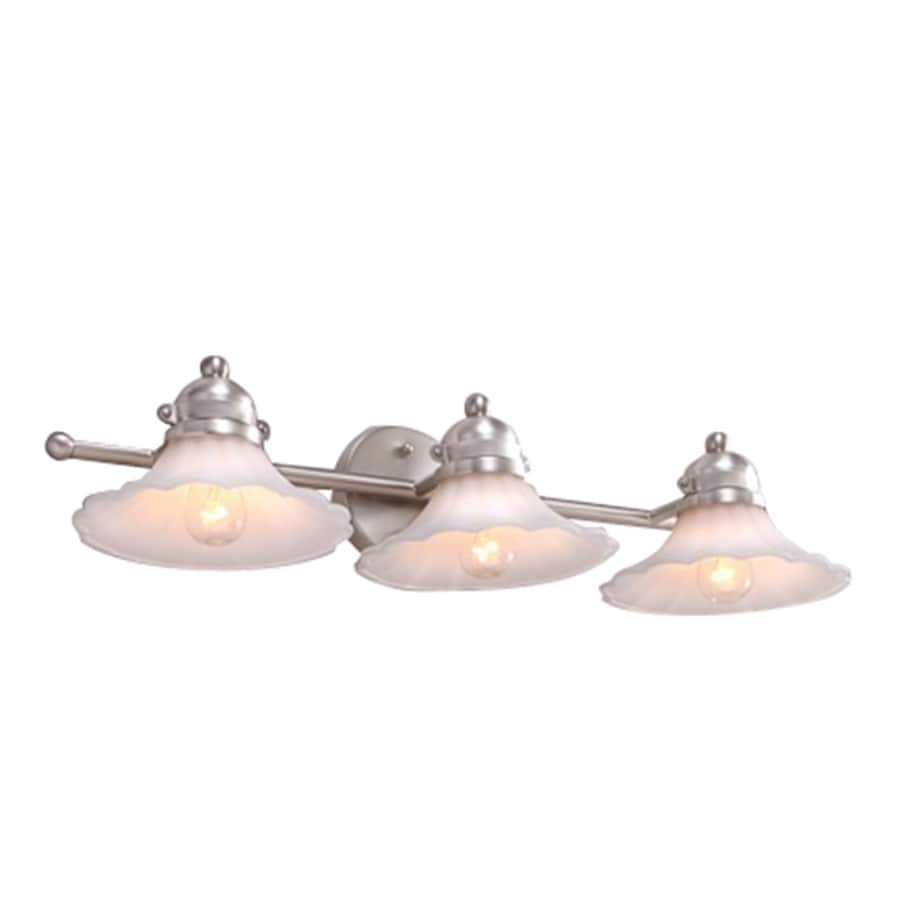 Portfolio Delina 3-Light Brushed Nickel Cone Vanity Light