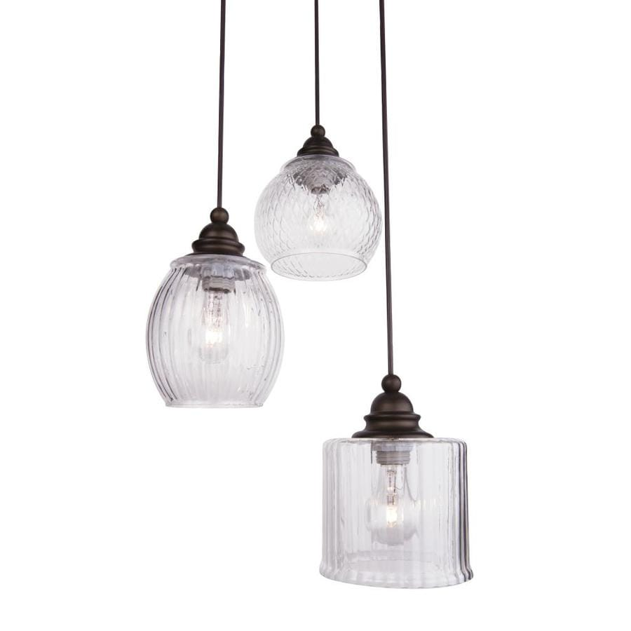 Shop allen + roth Cardington 14.67-in Aged Bronze Craftsman Multi-Light Clear Glass Dome Pendant ...