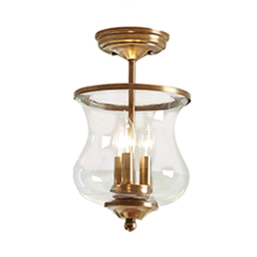 allen + roth Yately 8.68-in W Satin Brass Clear Glass Semi-Flush Mount Light