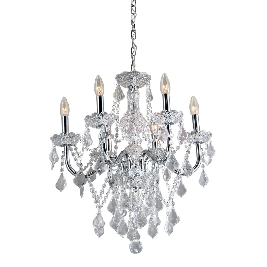 Shop portfolio 6 light polished chrome vintage crystal candle chandelier at - Light fixtures chandeliers ...