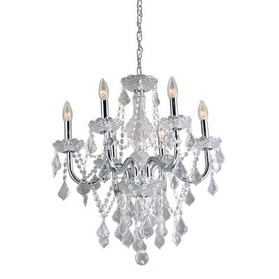 6 Light Polished Chrome Vintage Crystal Candle Chandelier