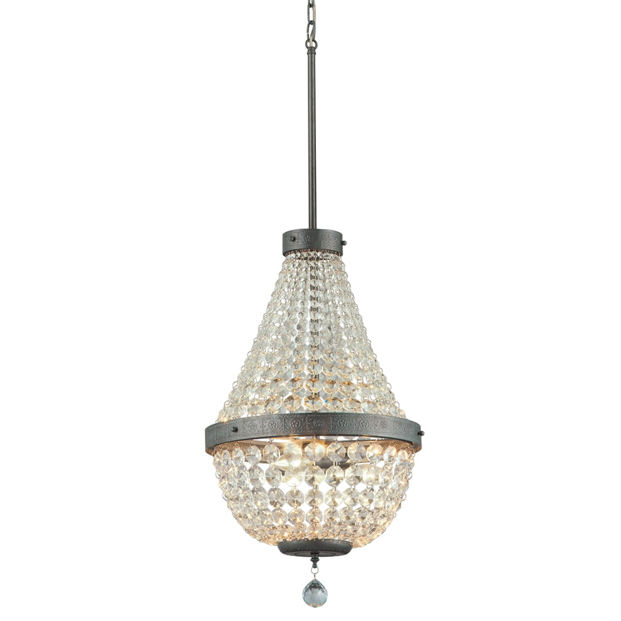 Portfolio Breely 14.02-in 3-Light Antique silver Crystal Crystal Empire  Chandelier - Shop Portfolio Breely 14.02-in 3-Light Antique Silver Crystal