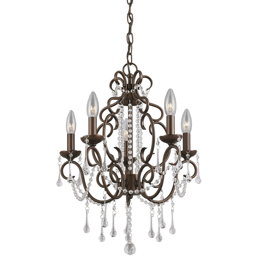 Portfolio Roz 16-in 5-Light Dark Bronze Vintage Crystal Candle Chandelier - Shop Portfolio Roz 16-in 5-Light Dark Bronze Vintage Crystal