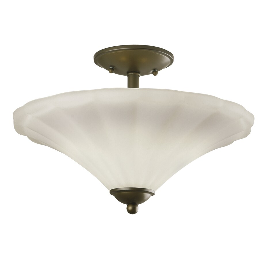 Portfolio Delina 15-in W Aged Bronze Etched Glass Semi-Flush Mount Light