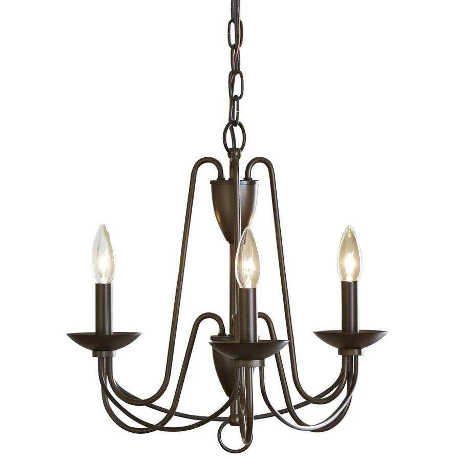 allen + roth Wintonburg 18-in 3-Light Aged Bronze Williamsburg Candle Chandelier