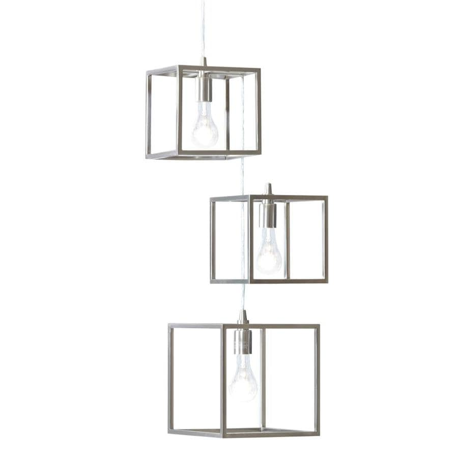 Style Selections Arctura 17-in 3-Light Brushed Nickel Industrial Abstract Chandelier