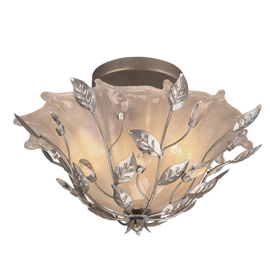 Portfolio 15.87-in W Brushed Nickel Etched Glass Semi-Flush Mount Light
