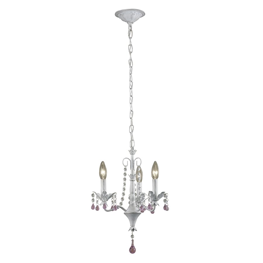 Portfolio 14.02-in 3-Light Antique white Vintage Crystal Candle Chandelier - Shop Portfolio 14.02-in 3-Light Antique White Vintage Crystal