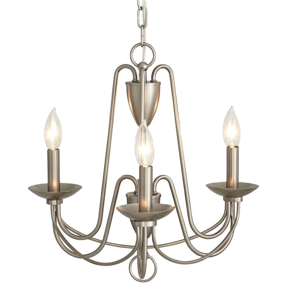 allen + roth Wintonburg 18.03-in 3-Light Brushed Nickel Williamsburg Candle Chandelier