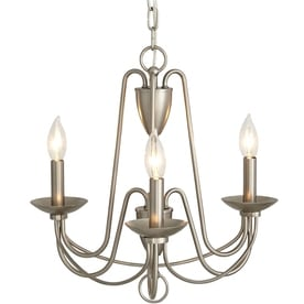 allen + roth Wintonburg 3-Light Brushed Nickel French Country/Cottage Candle Chandelier