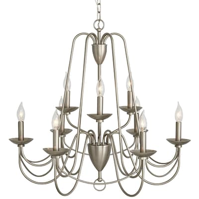 Wintonburg 9 Light Brushed Nickel French Country Cottage Candle Chandelier