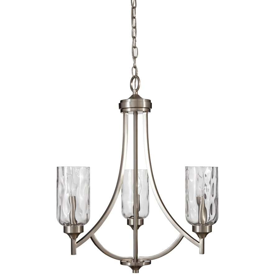 allen + roth Latchbury 21.94-in 3-Light Brushed nickel Craftsman Textured Glass Shaded Chandelier